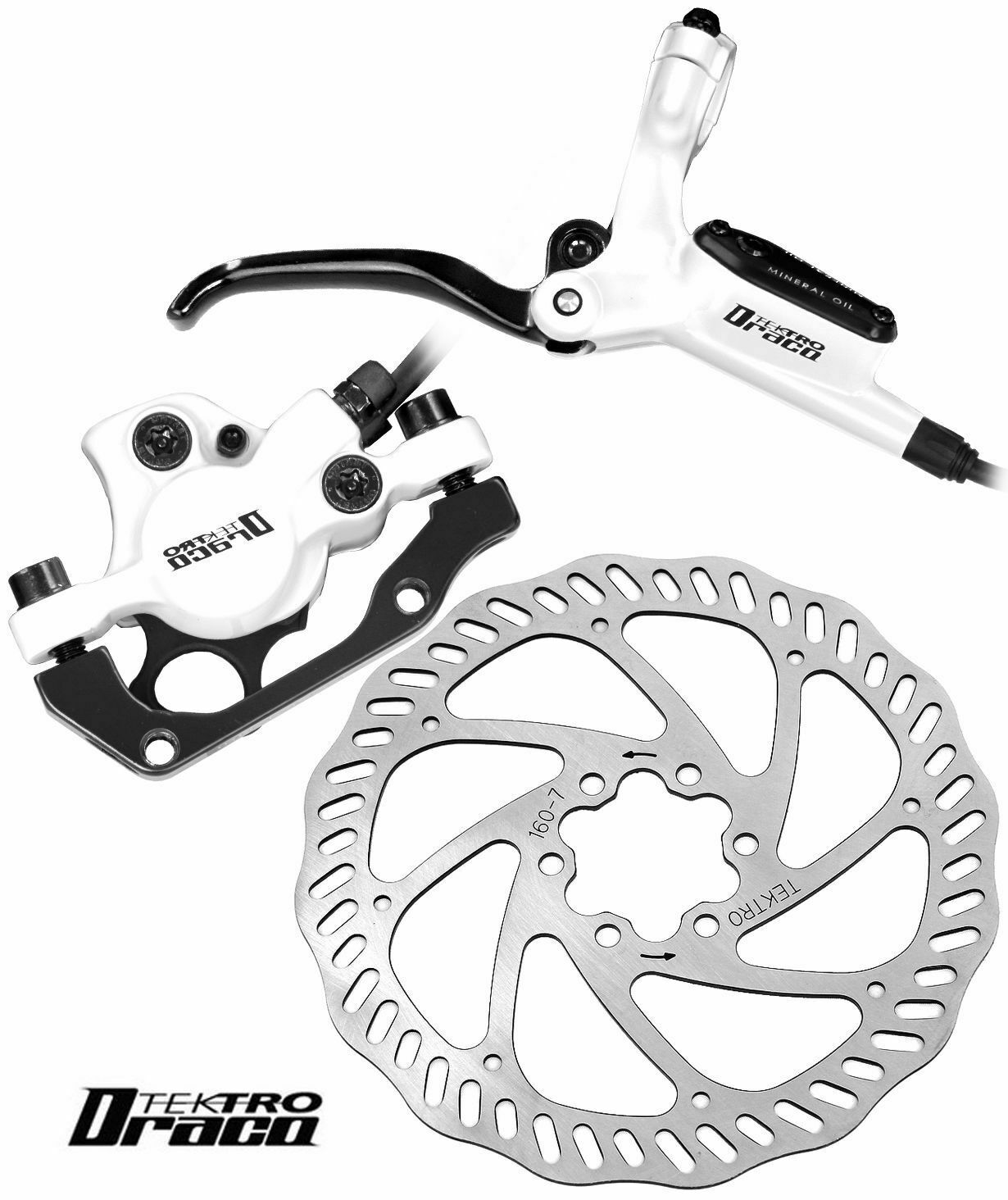 Tektro Draco Hydraulic Disc Brake Set with Levers Calipers and Rotors