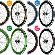 Fixie Single Speed Road Bike Track Wheel Wheelset Deep V + Tyres