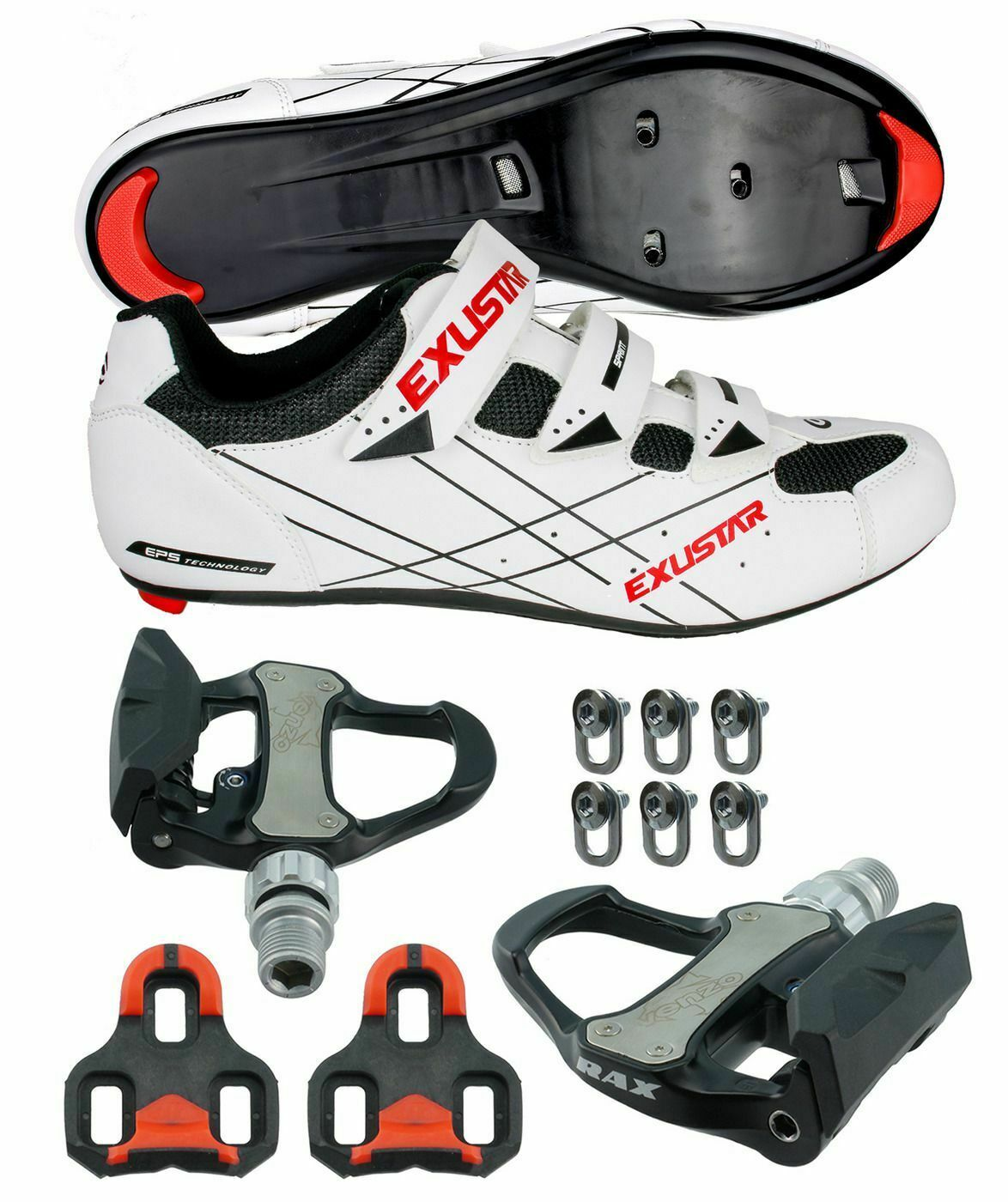 E-SR493 Road Bike Shoes VENZO Look Keo Pedals & Cleats Size 46