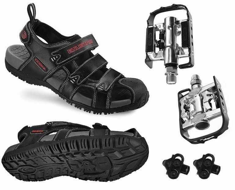 EXUSTAR Unisex E-SS503 Trekking Outdoor Bicycle Sandals with Wellgo C002 Pedals Black Size 43-44