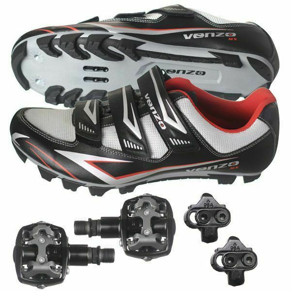 Venzo Mountain Bike Bicycle Cycling Shimano SPD Shoes + Pedals & Cleats 43