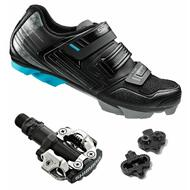 Shimano Bicycle Women's SH-WM53 MTB Shoes + SPD Pedals PD-M520 Black