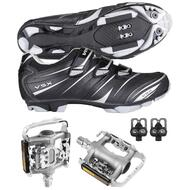 Venzo Mountain Bicycle Shimano SPD Shoes + Multi-Use Pedals 45 Used